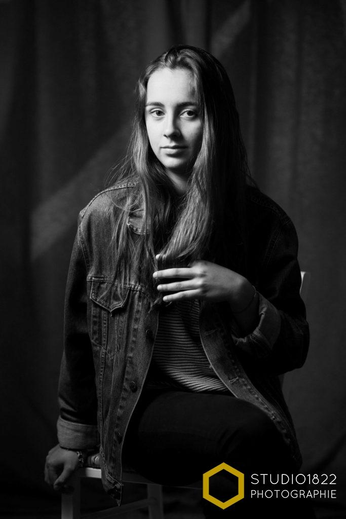 Portrait noir et blanc – séance shooting à domicile